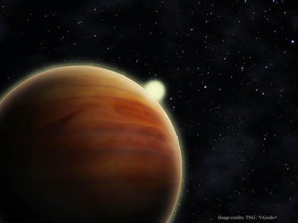 Una rappresentazione artistica del pianeta TrES-4b. Crediti: FGG/TNG/Vincenzo Guido