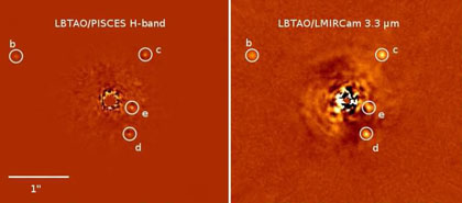 Immagini del sistema HR 8799 con il suo sistema di pianeti  bcde indicati con i cerchi bianchi, nella bande 1,65 e 3,3 micron. Crediti: LBT. Andrew J. Skemer et al., First Light LBT AO Images of HR 8799 bcde at 1.65 and 3.3 Microns: New Discrepancies between Young Planets and Old Brown Dwarfs, arXiv:1203.2615 [astro-ph.EP] (or arXiv:1203.2615v2 [astro-ph.EP] for this version).